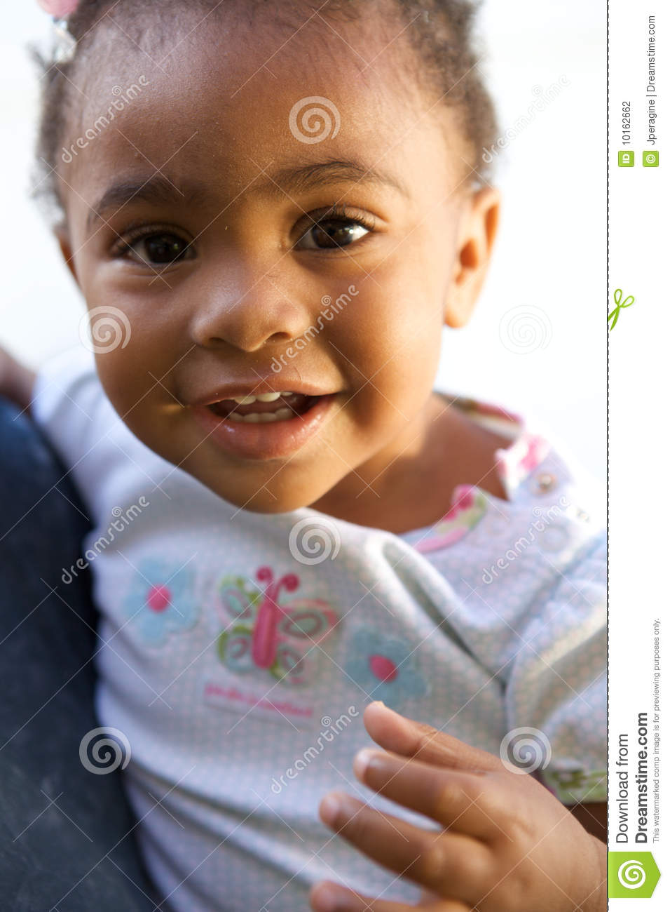 A Beautiful African American Baby Smiling Stock