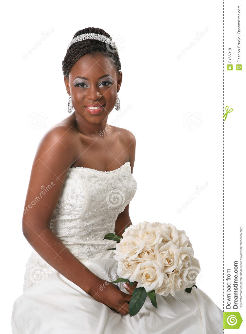 Beautiful African American Bride Portrait Stock Photo - Image of ...