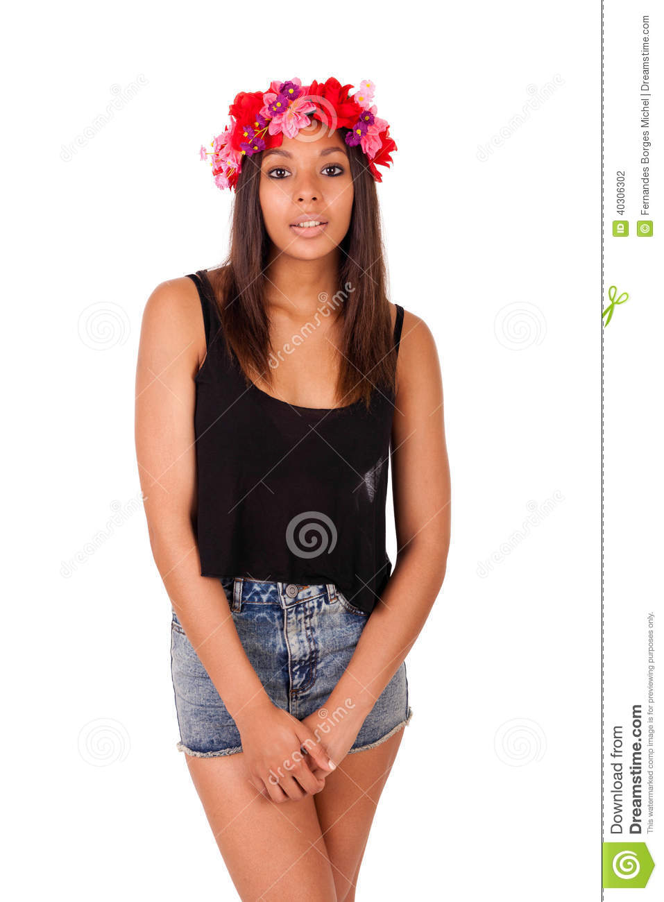 Beautiful African American model posing fashion style isolated