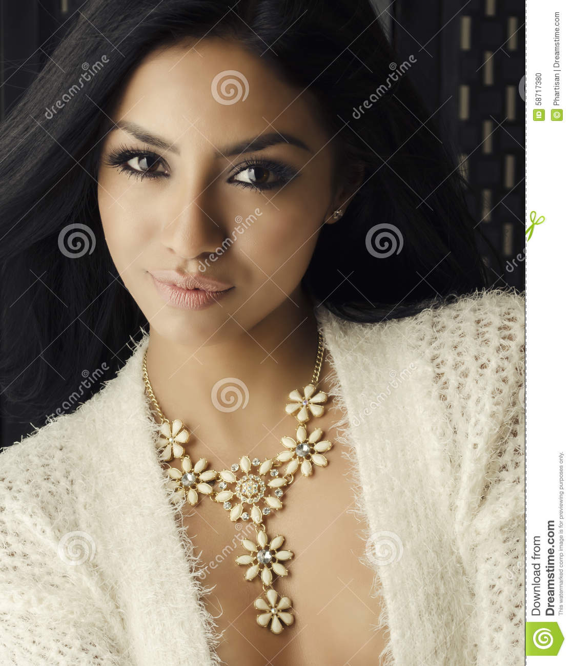 indian woman with beautiful skin and hair royalty free