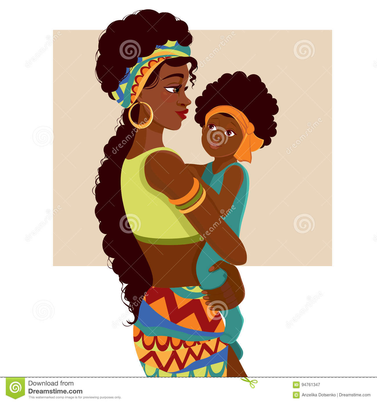 Beautiful african american mother and baby stock vector beautiful african american mother and baby kristyandbryce Image collections
