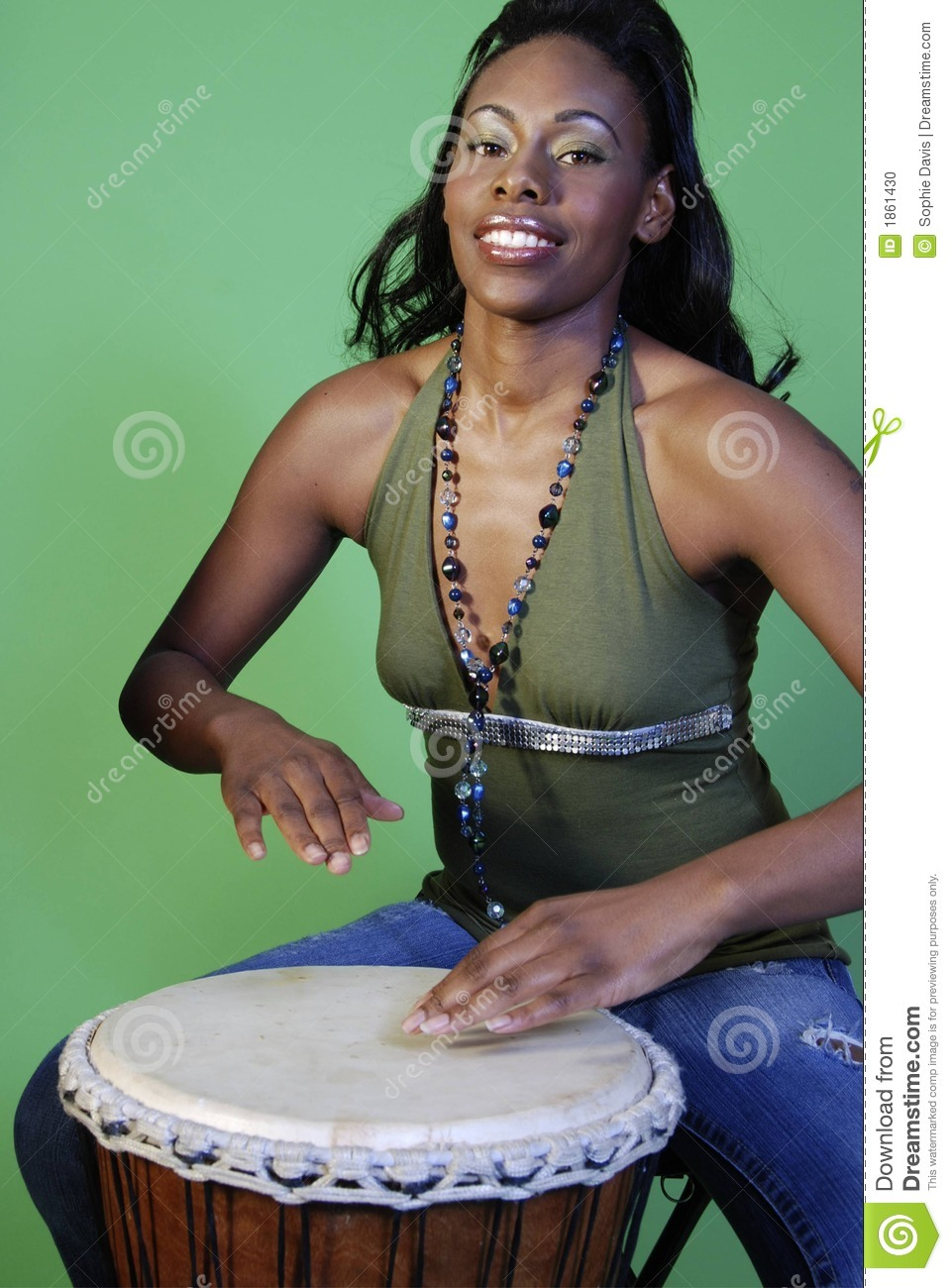 Beautiful African-American Woman Playing Drums Stock Photo -2462
