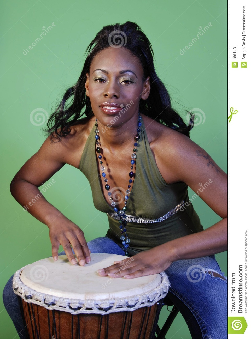 Beautiful African-American Woman Playing Drums Stock Image -4682