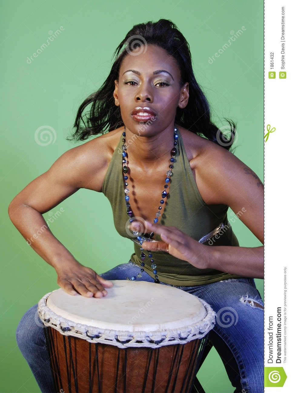 Beautiful African-American Woman Playing Drums Stock -3217