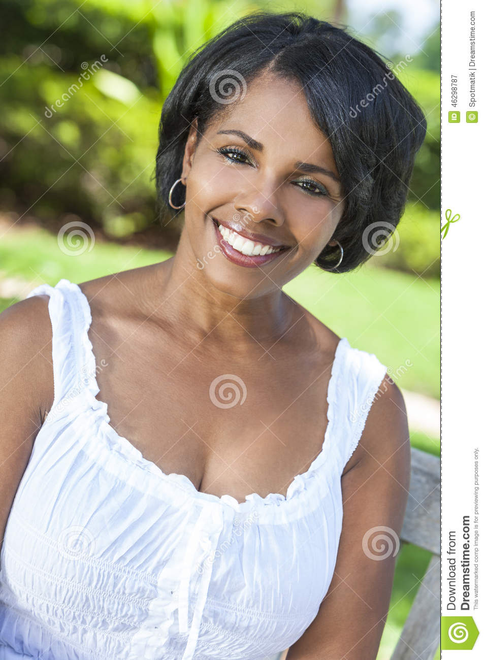 Beautiful African American Woman Relaxing Outside Stock