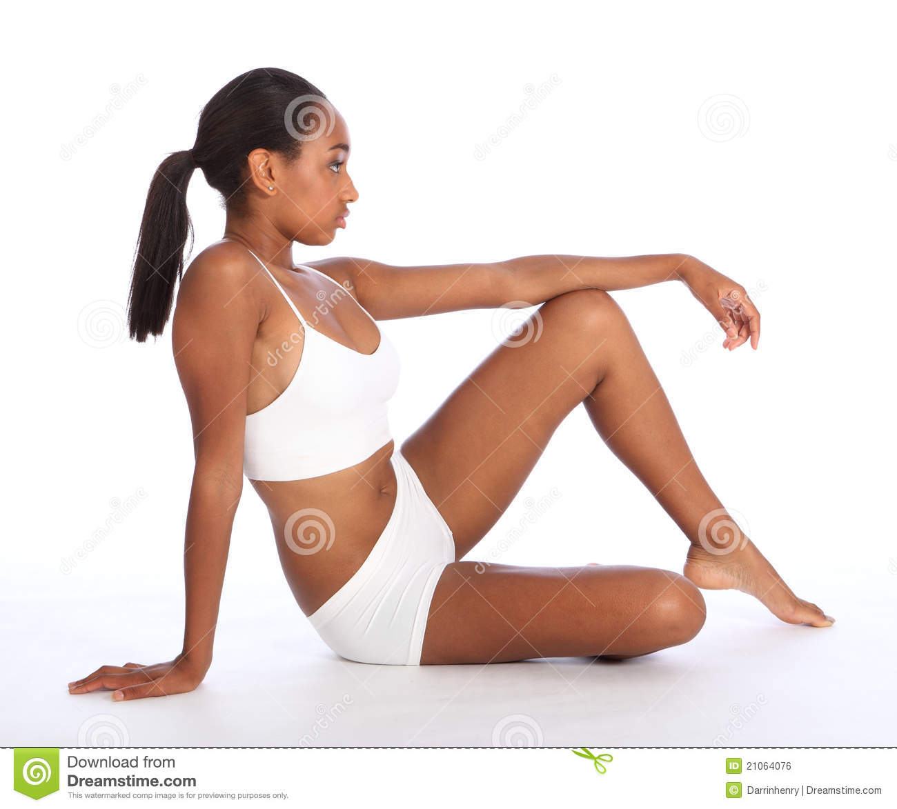 Beautiful African American Woman Slender Body Stock Photo