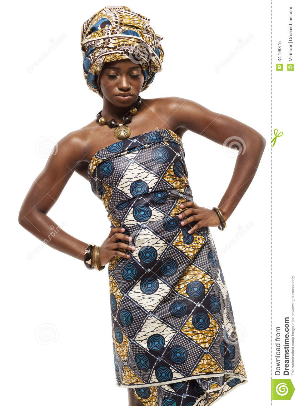 Beautiful African Fashion Model In Traditional Dress. Royalty Free ...