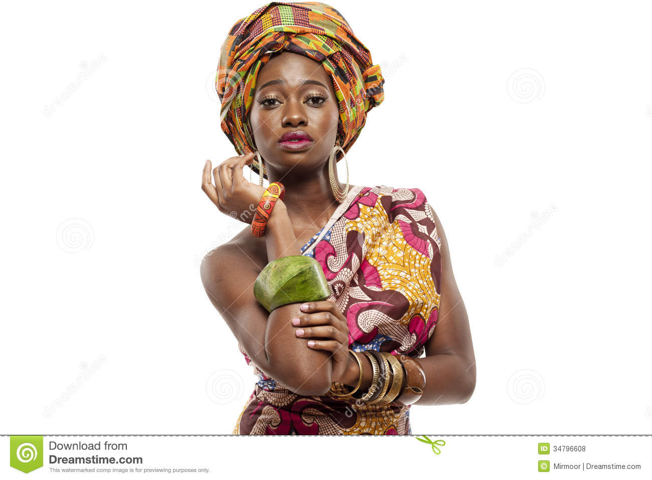 beautiful african fashion model in traditional dress royalty free