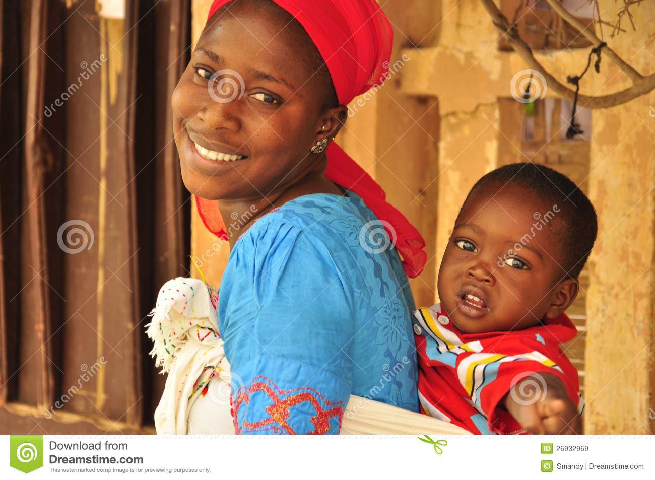 Beautiful african woman with baby