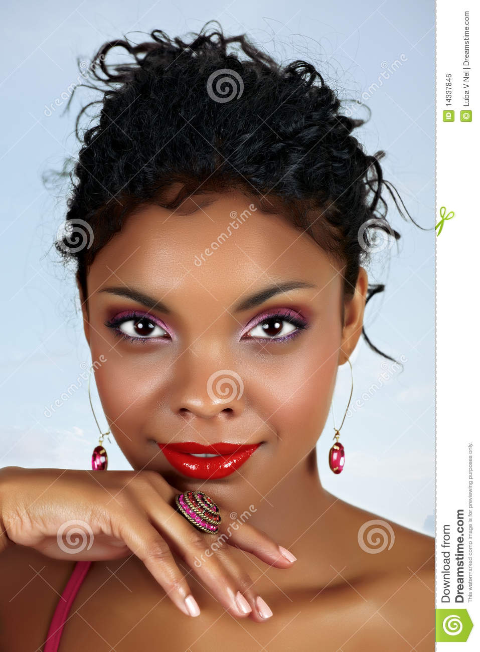 Beautiful African Woman With Red Lips Stock Photo Image