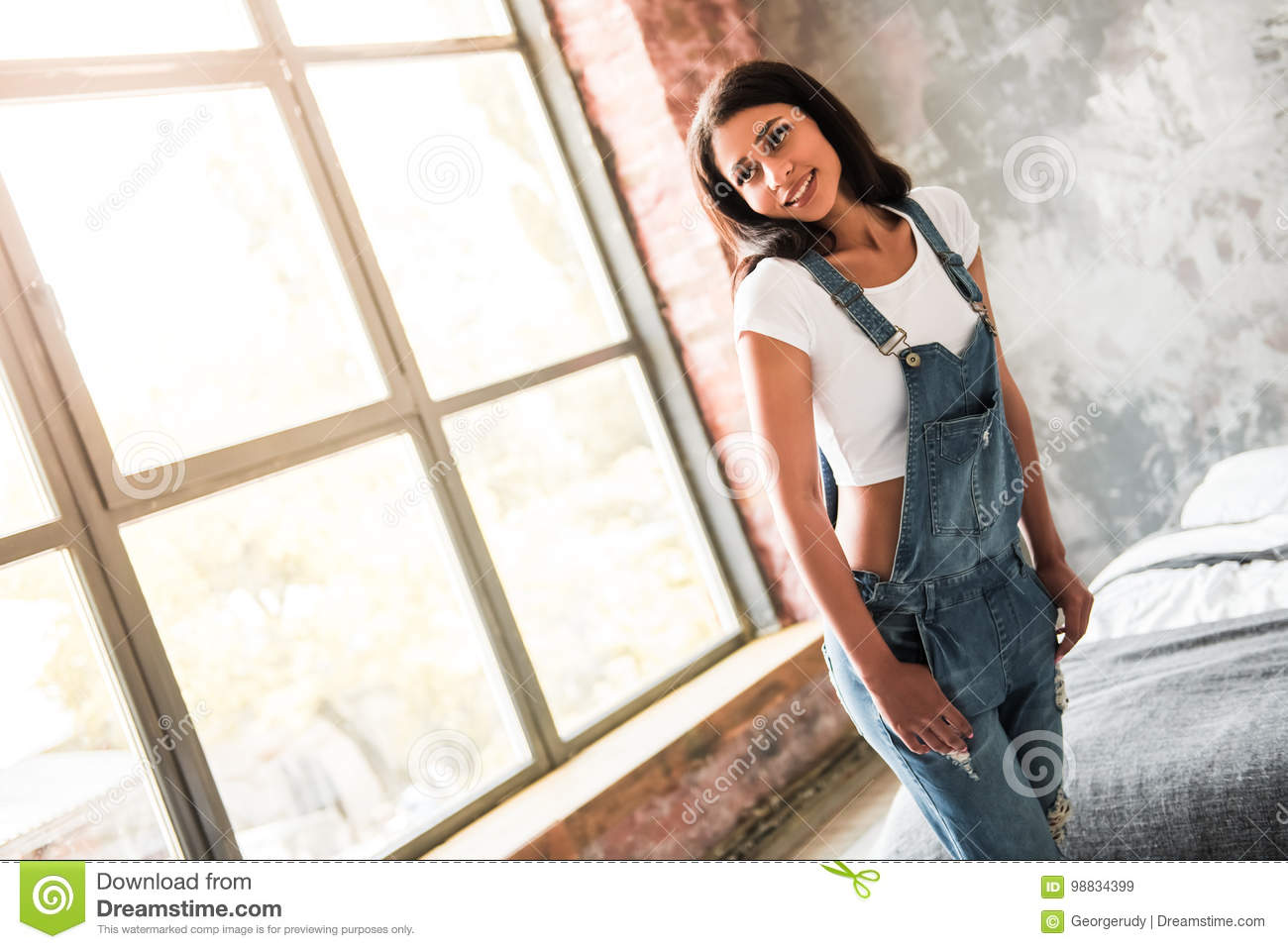 Download Beautiful Afro American Girl Stock Image - Image of jeans, attractive: 98834399
