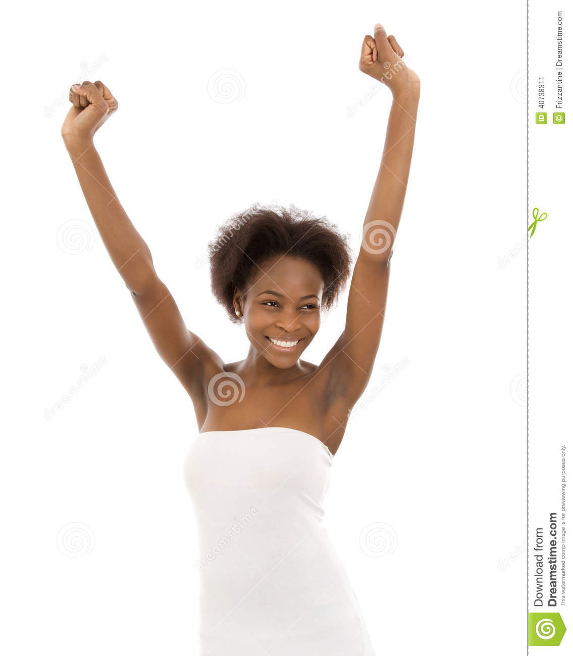Beautiful afro american woman with hands up in the air stock photo
