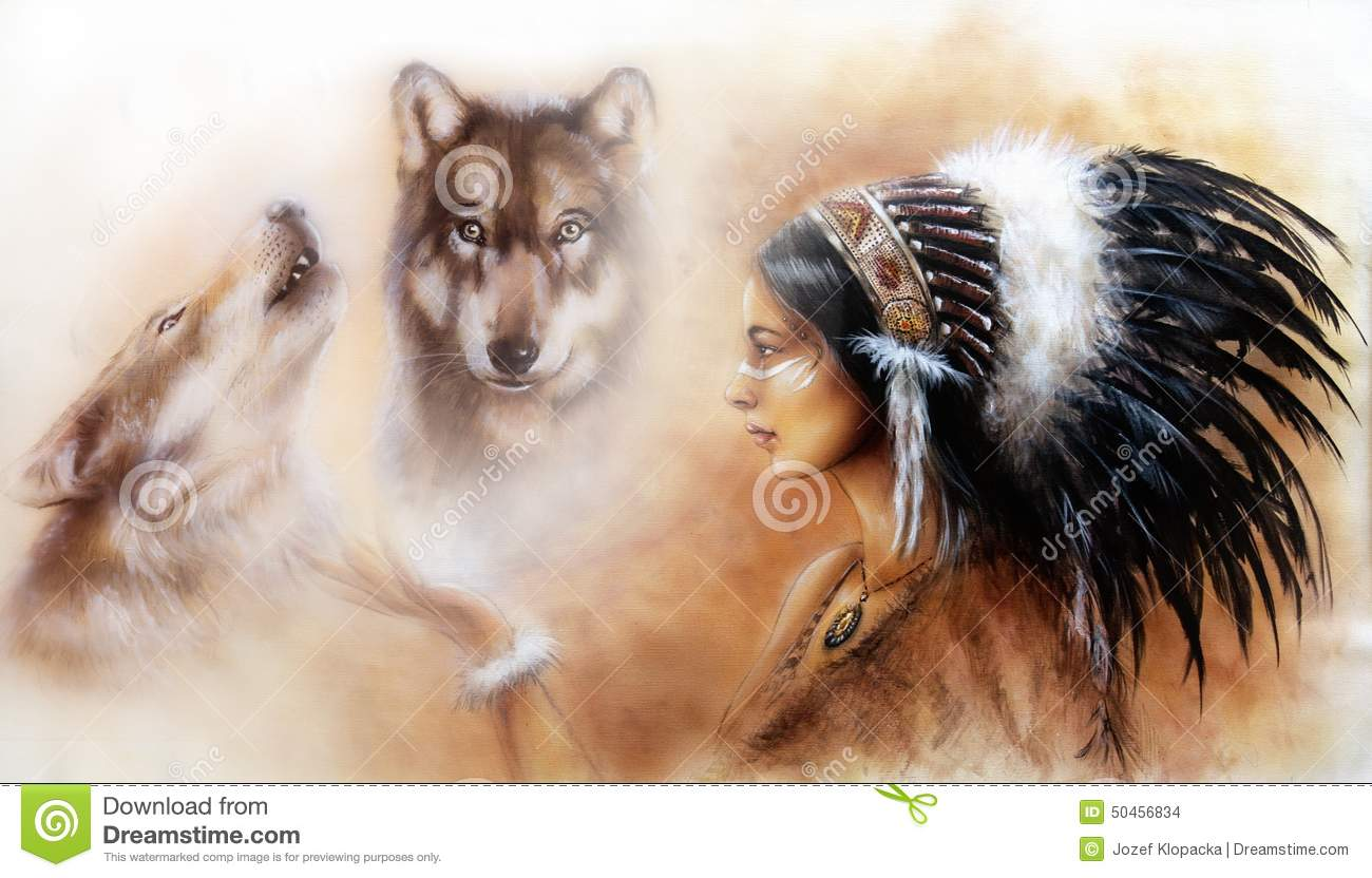 Beautiful Painting Of A Young Indian Woman With Wolves