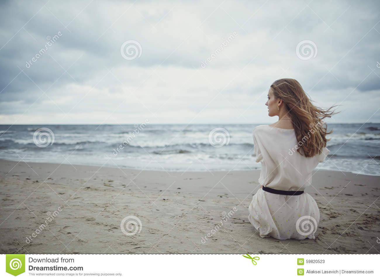 girl on beach Lonely