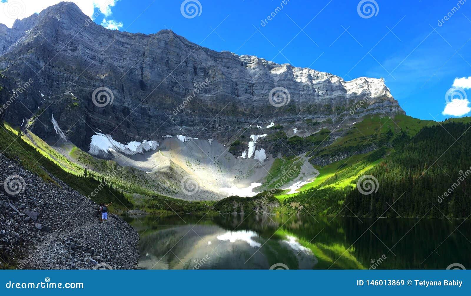 Scenic Rawson Lake snowshoe near Canmore, Alberta, Canada