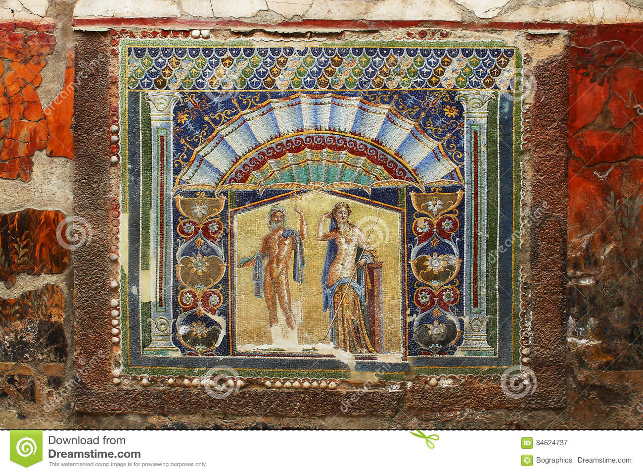 Beautiful ancient mosaic from Herculaneum Fresco of Neptune