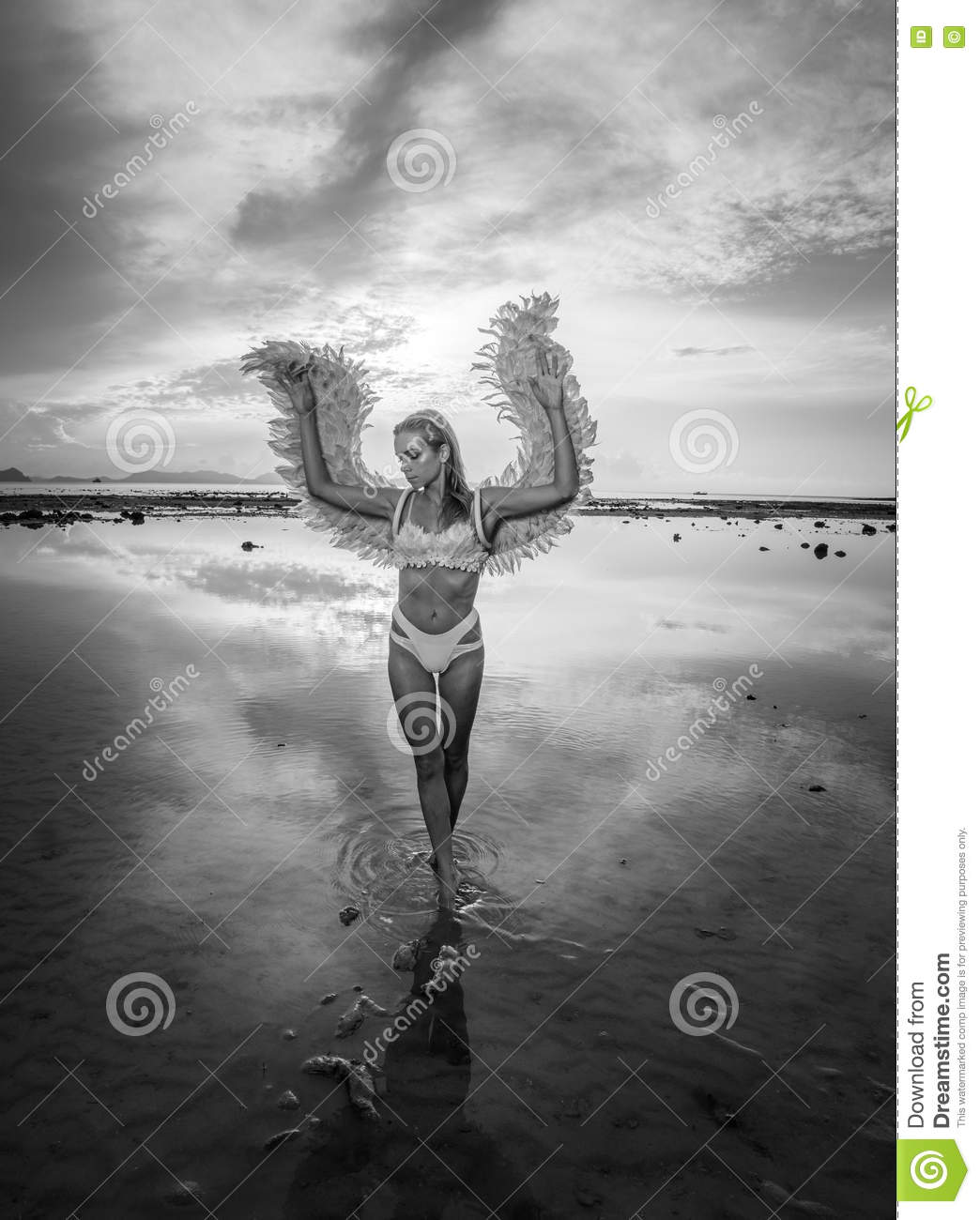 Black and white photo of romantic young beauty as an angel on the beach blonde pretty female woman wearing pink wings feather bra and bikini bottom