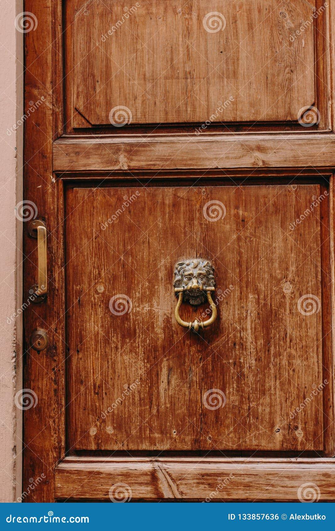 Beautiful antique wooden doors in Italy with metal handles