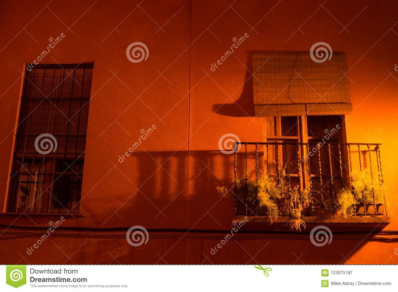 Beautiful Apartment With Balcony In Seville At Night Spain Stock