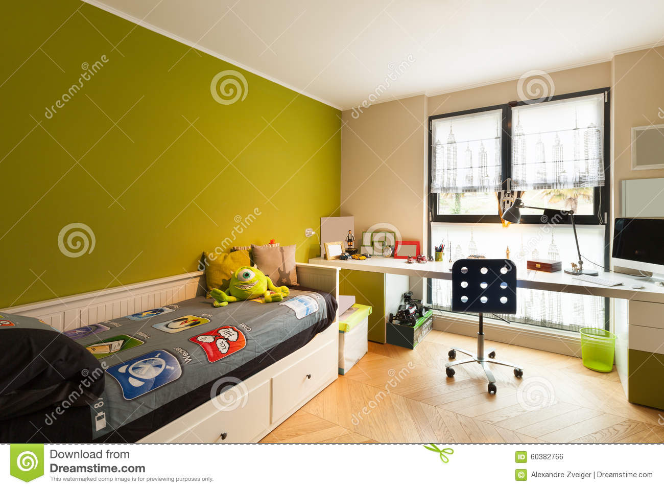 beautiful apartment furnished bedroom stock photo image