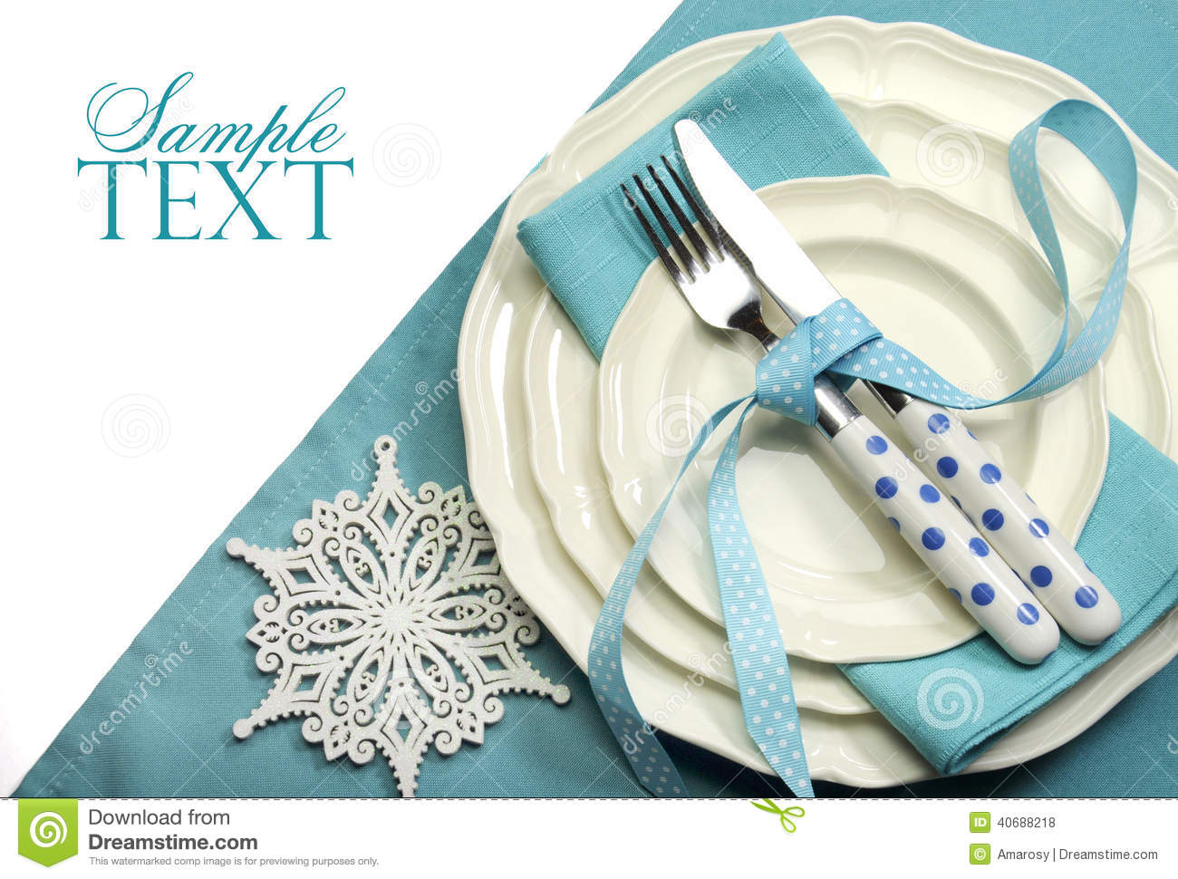 Beautiful Aqua Blue Festive Christmas Dining Table Place  : beautiful aqua blue festive christmas dining table place setting happy holiday ornaments decorations copy space 40688218 from www.dreamstime.com size 1300 x 970 jpeg 164kB