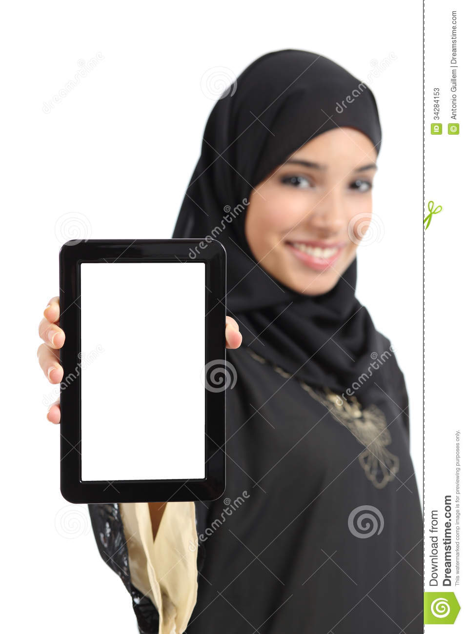 Beautiful arab woman showing a blank vertical tablet screen isolated