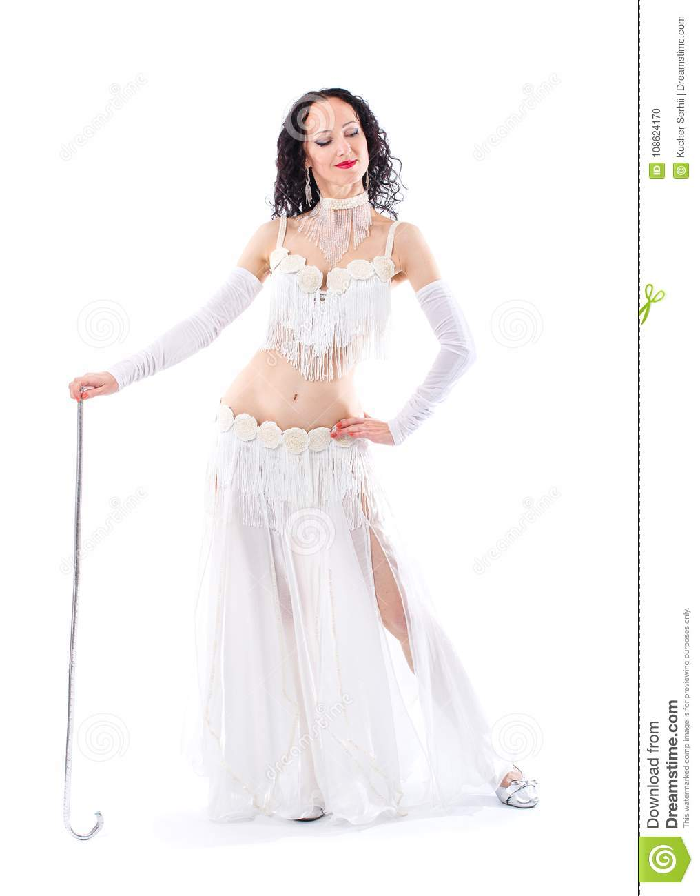 76ca70607e8d6 Beautiful Arabian bellydancer woman in bellydance colorful costume Over  white background