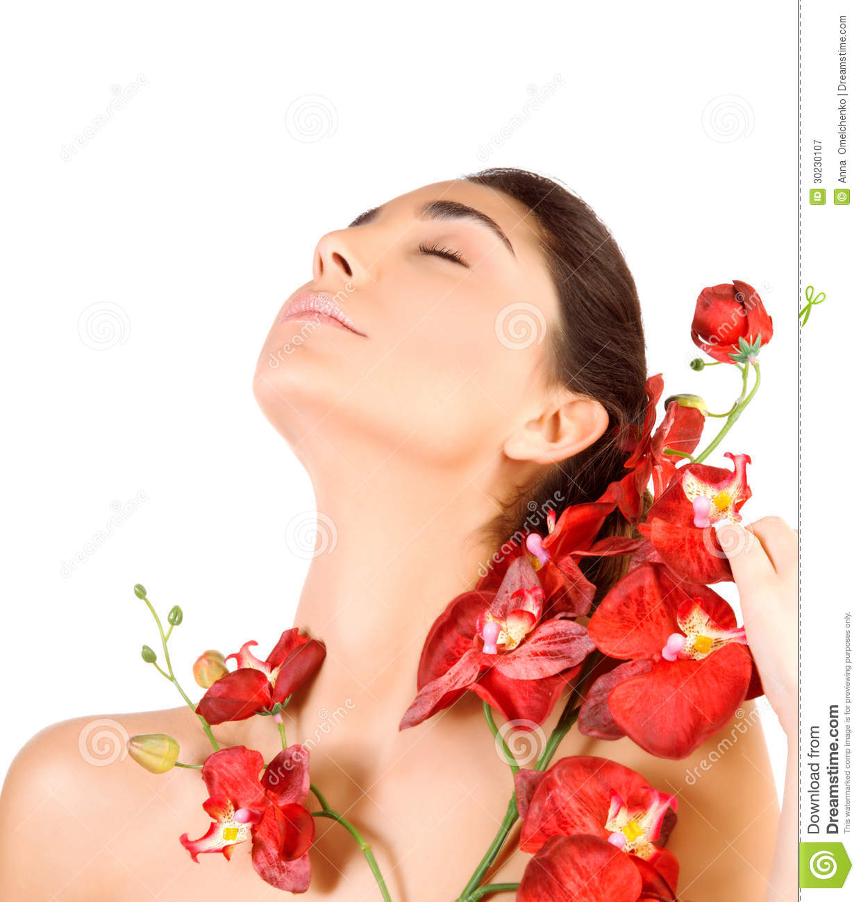 Beautiful woman with red orchid flowers stock image for Photo de salon