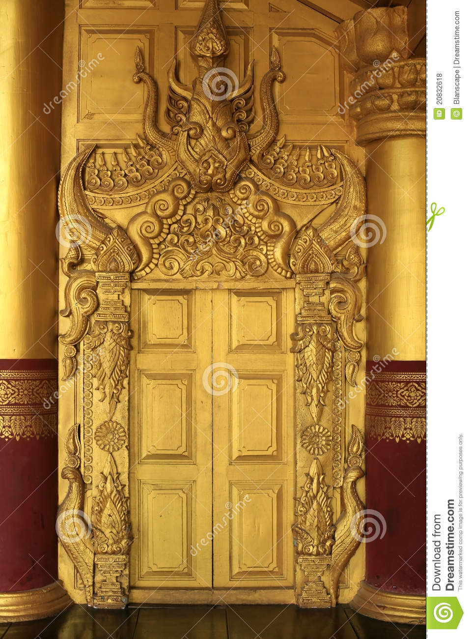 Beautiful Architecture Of Ancient Gold Door Stock Photo