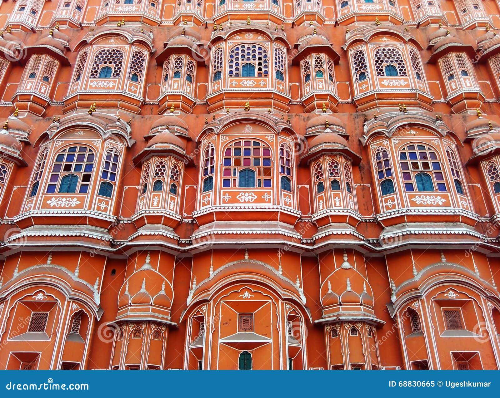 Beautiful Architecture Of Wind Palace Jaipur Rajasthan India Stock Photo
