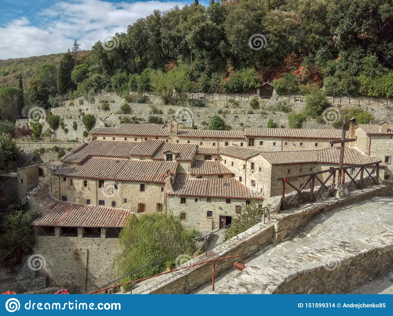 The beautiful areal landscape of a small rural village on the hill, Tuscany, Italy.