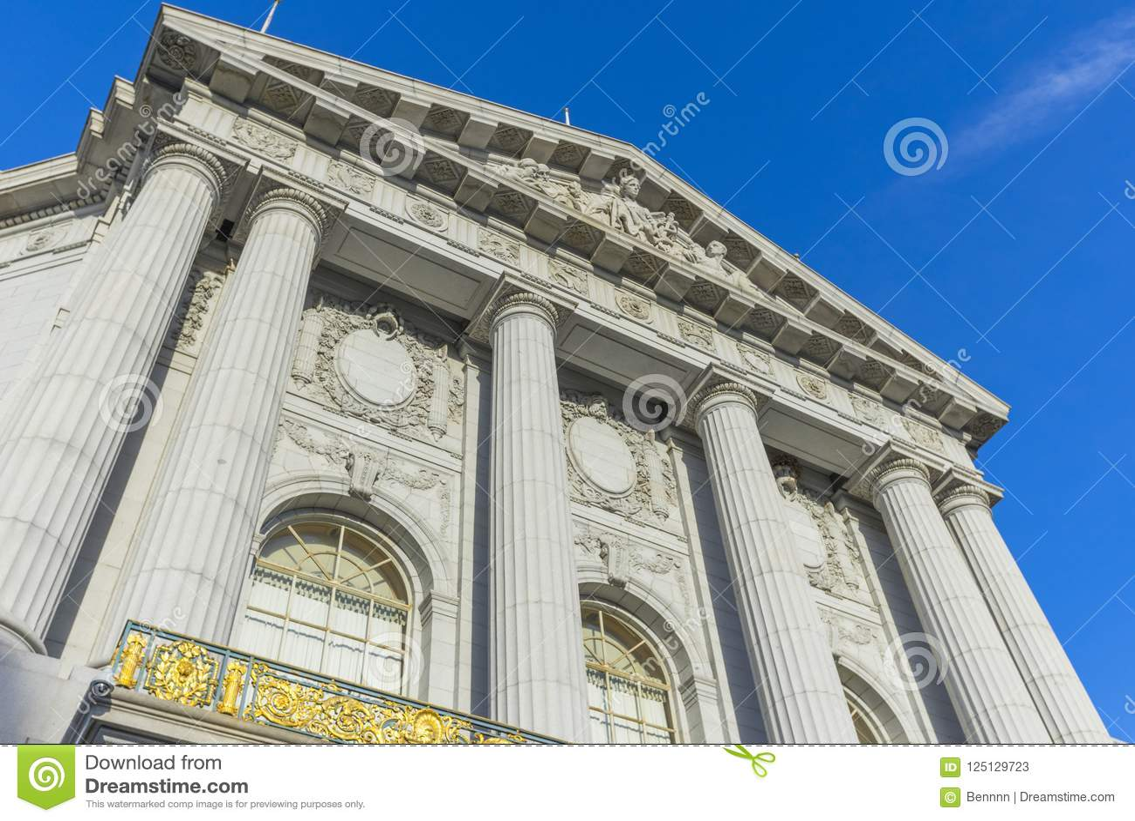 Beautiful art of San Francisco`s city hall in San Francisco, CA