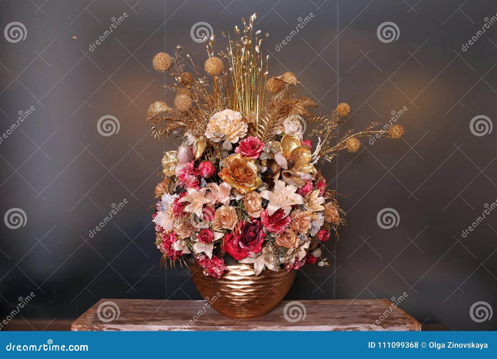 Artificial flower arrangement gold color stock photo image of beautiful artificial flower arrangement gold color izmirmasajfo