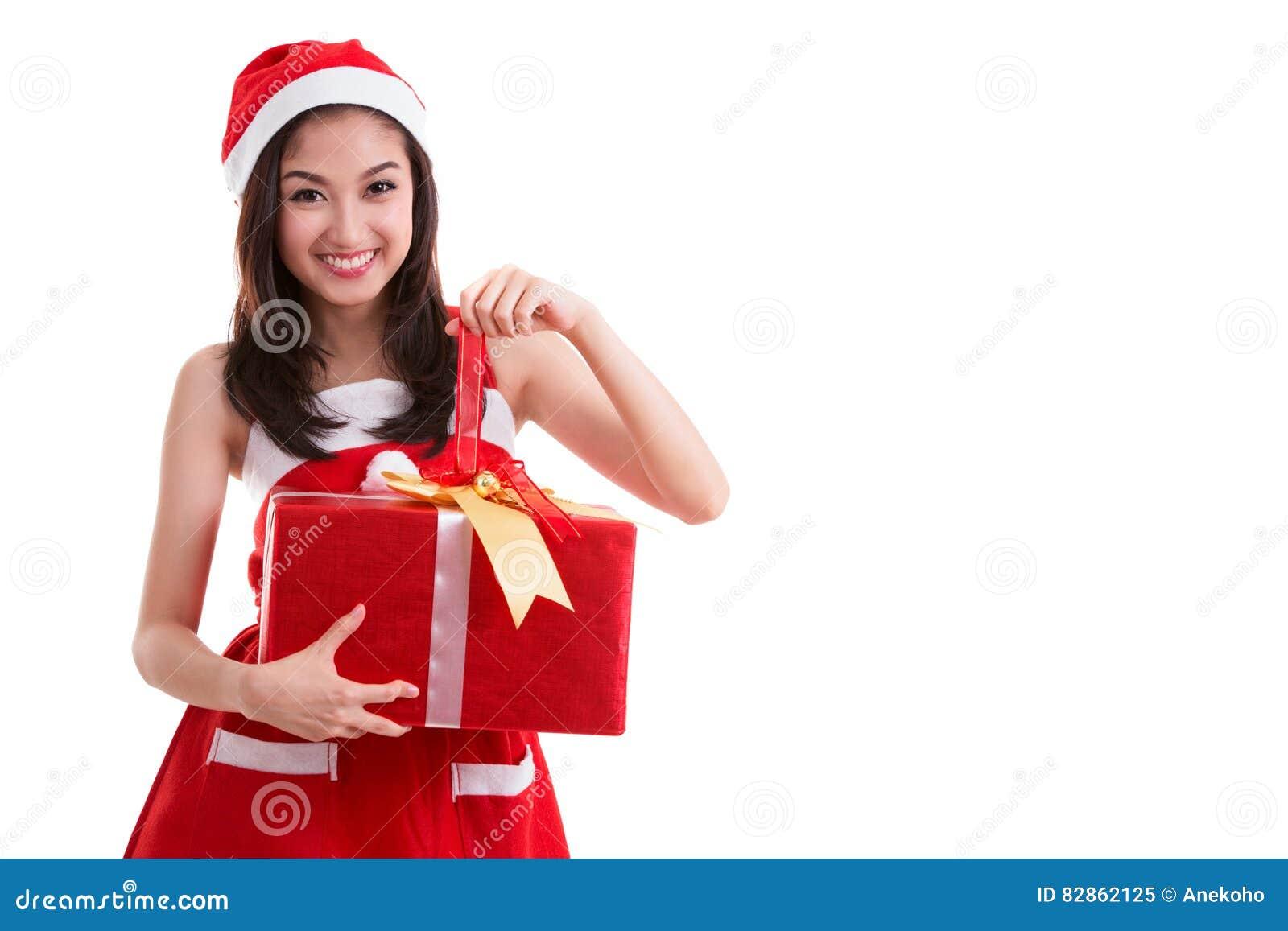 Beautiful Asia Woman Wear Santa Clause Costume Stock Image - Image ...