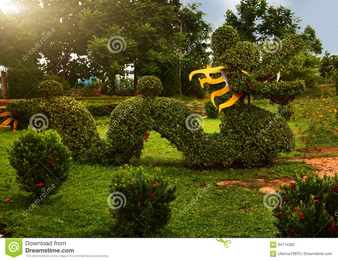 Beautiful Asian Garden With Dragon Shape Cut Bush Stock Image ...