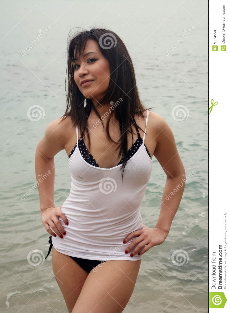 Asian girls at the beach