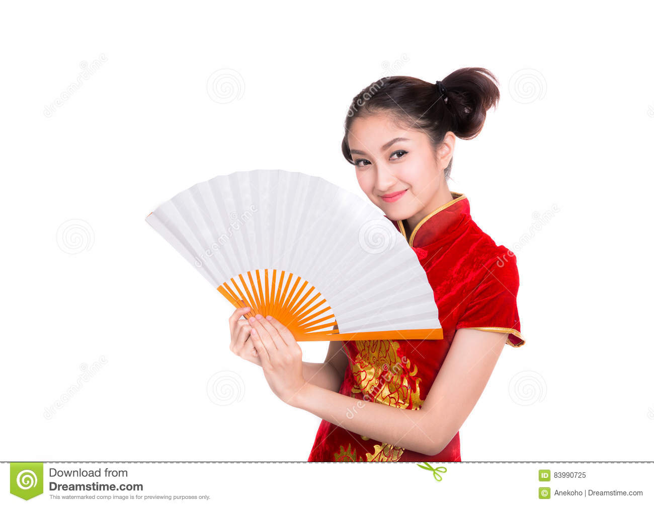 Beautiful Asian girl with Chinese traditional dress Cheongsam