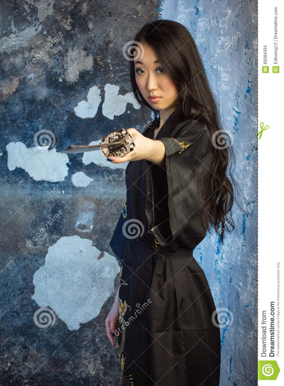 Asian girl samurai sword