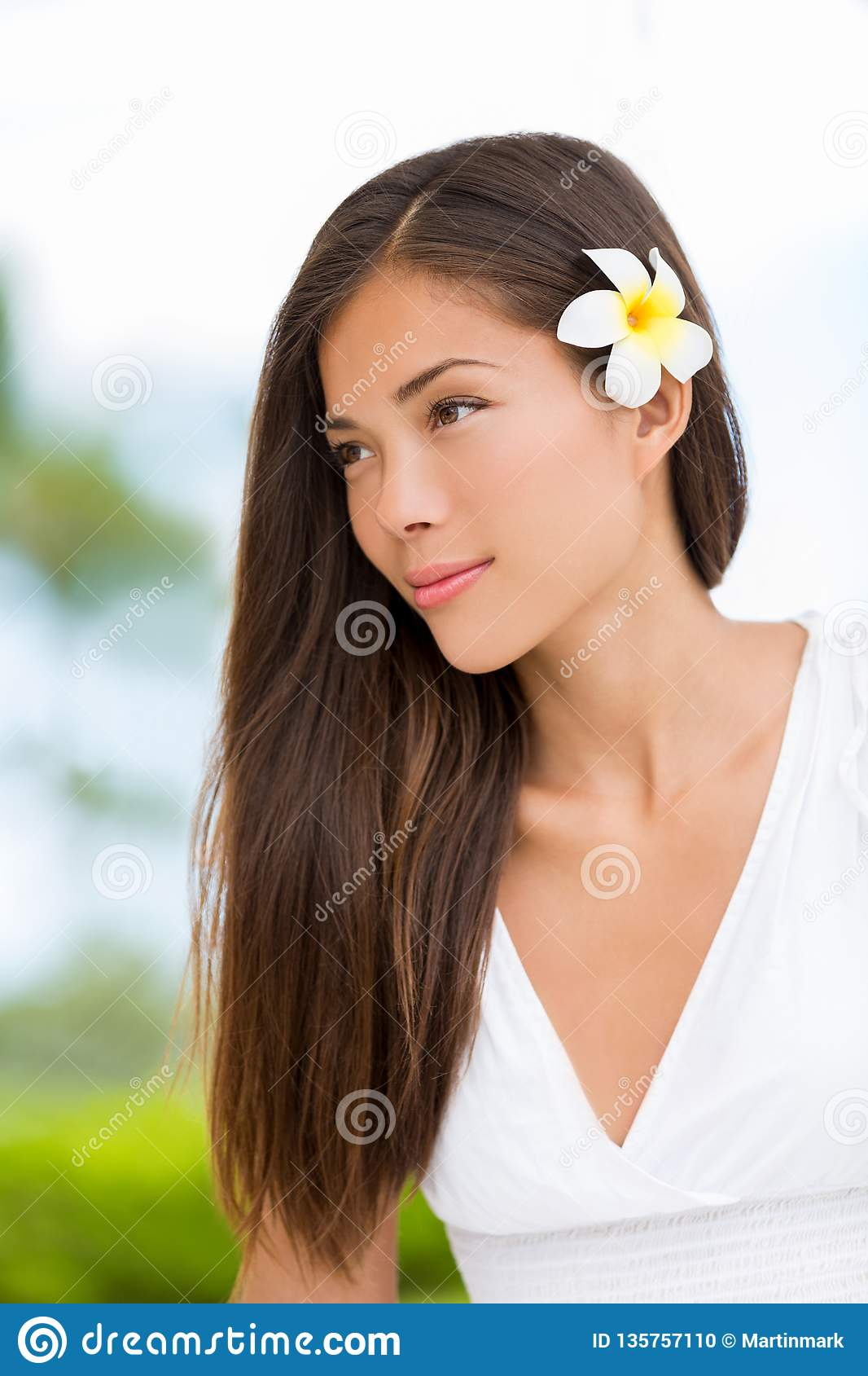 Asian mixed race beauty woman with healthy hair