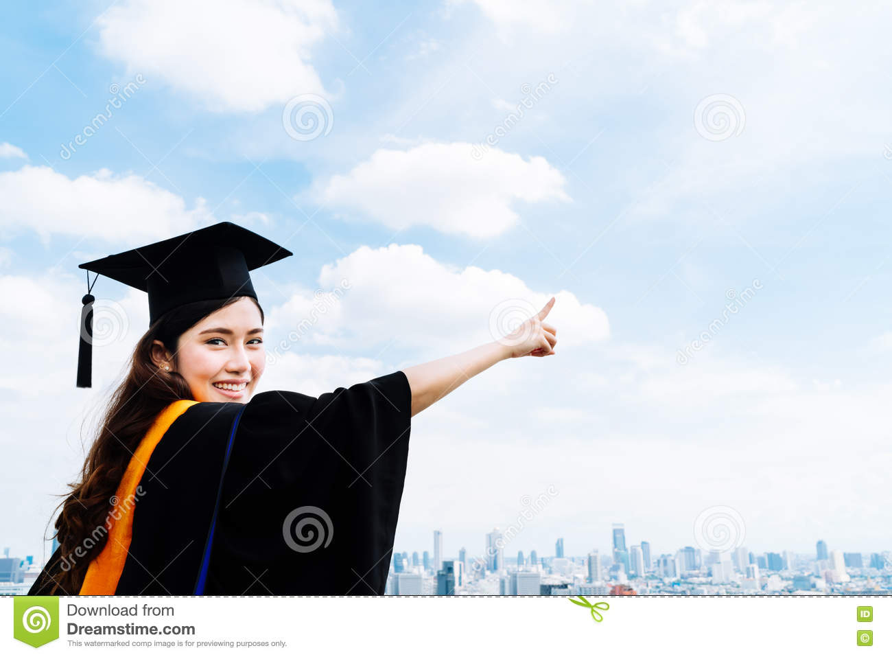 beautiful asian university or college graduate student w in beautiful asian university or college graduate student w in graduation academic dress or gown smiling