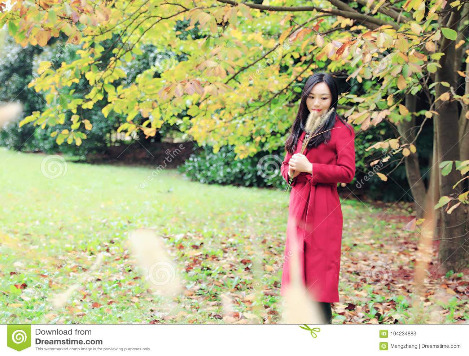 Beautiful Asian woman in autumn park