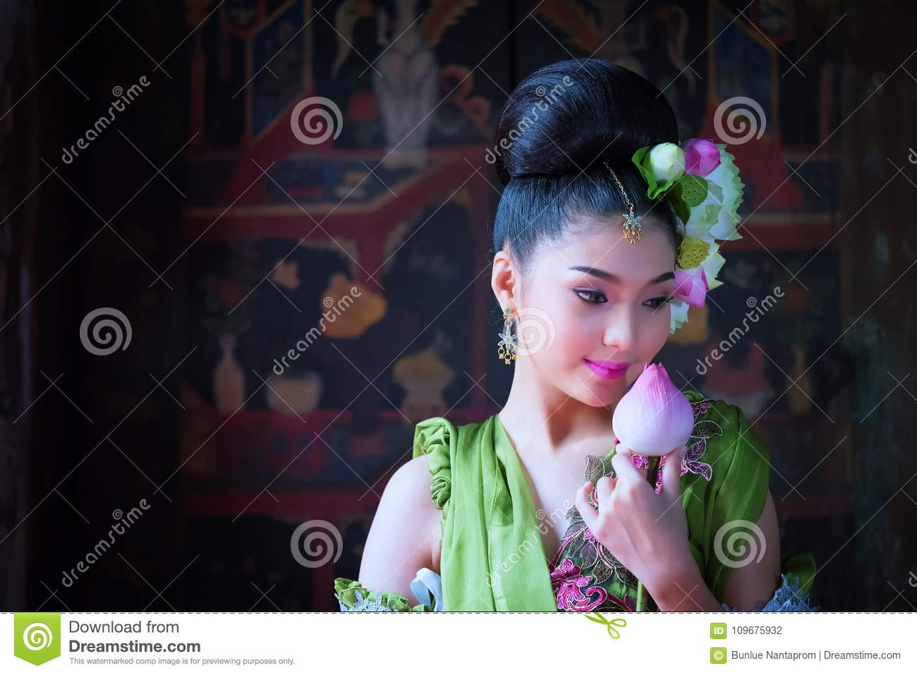 8217f92a7 Beautiful Asian Woman Lotus On Hand With Thai Traditional Dress ...