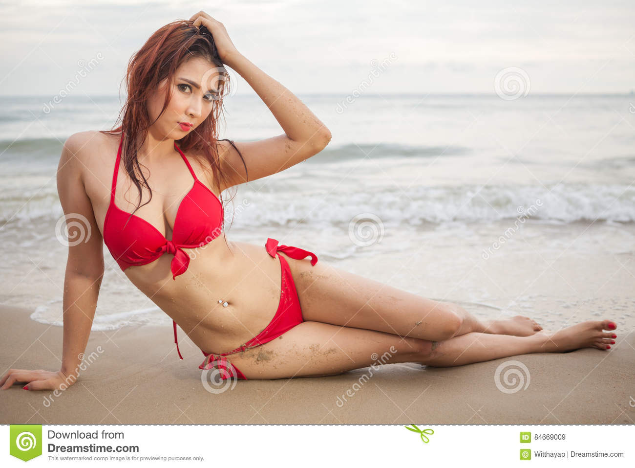 bikini Asian red