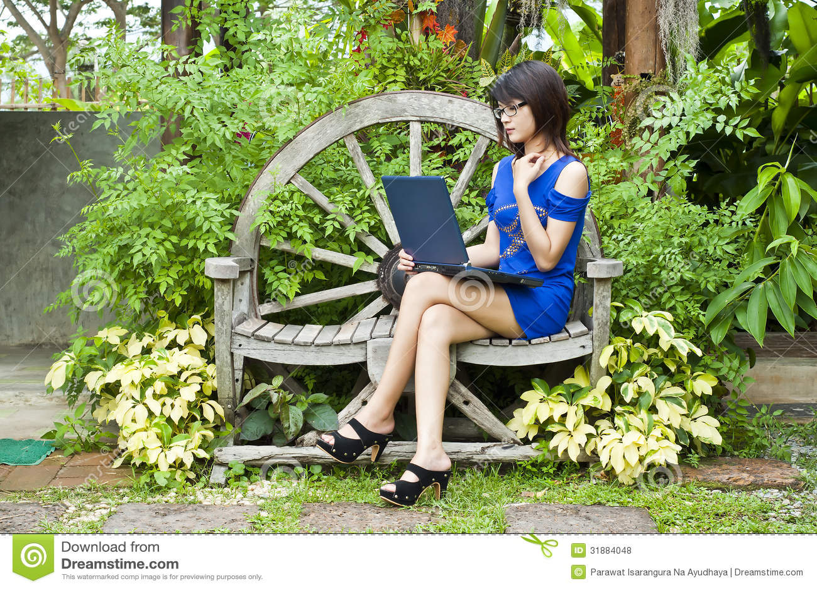 Lovely Beautiful Asian Woman Using Computer Notebook. Girl, Black.