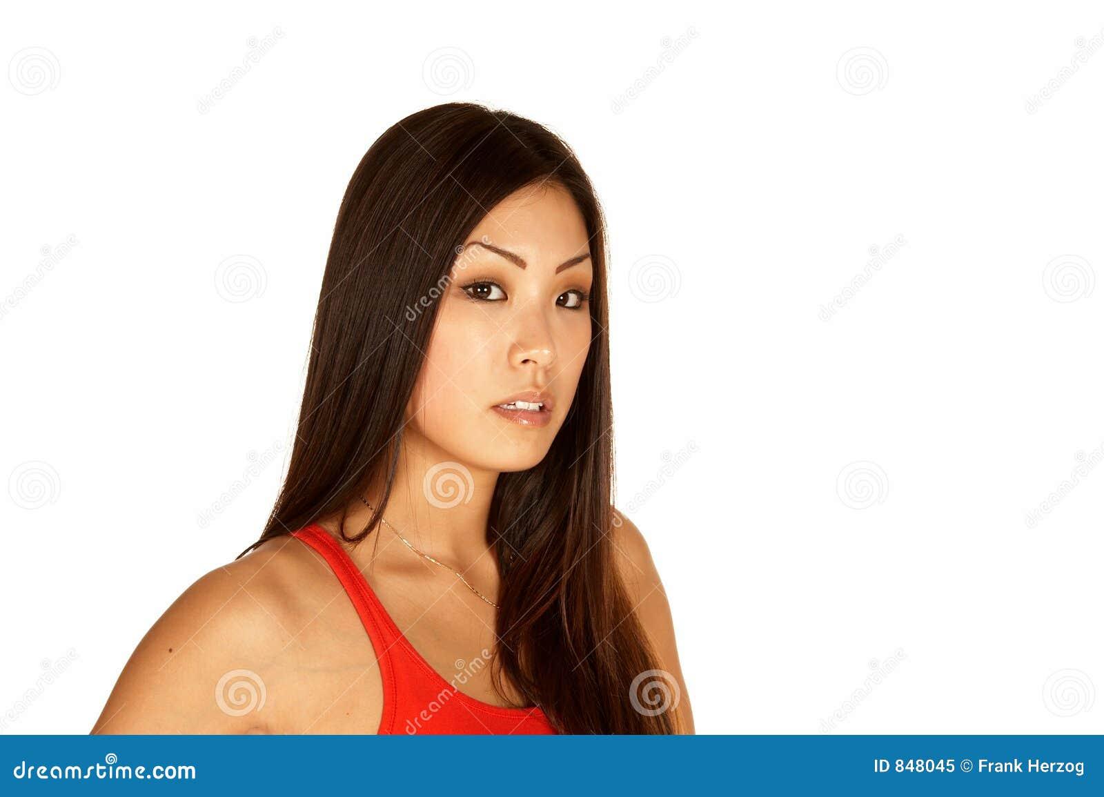 Beautiful Asian Young Woman Looking at the Camera
