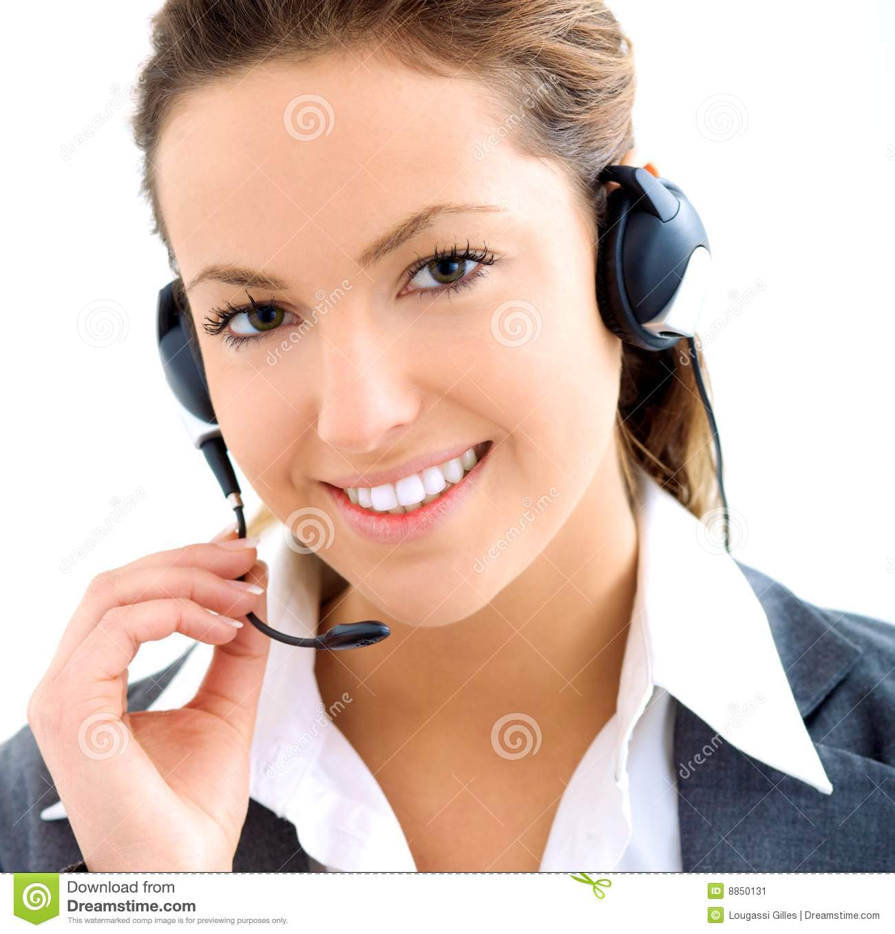 beautiful assistant with headset stock image image 8850131
