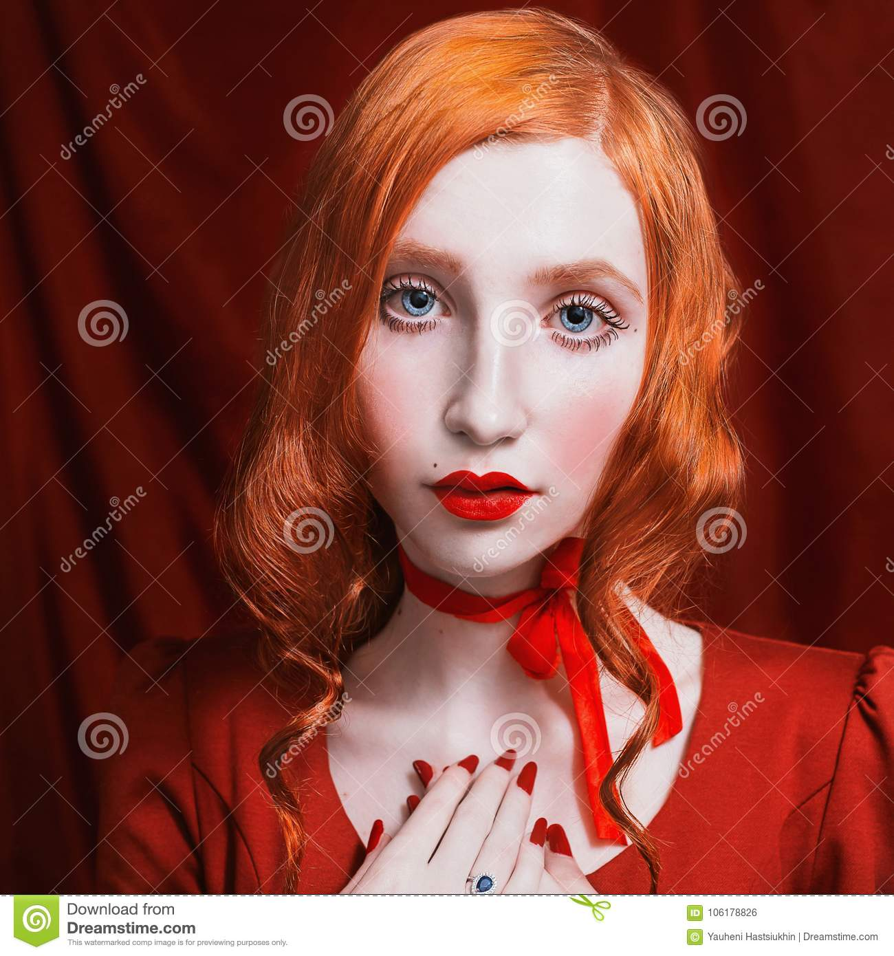Beautiful Attractive Girl With Red Hair Stock Photo Image