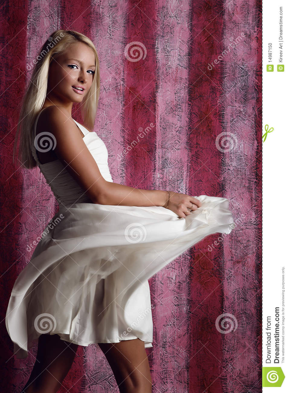 beautiful attractive girl in white dress stock photo