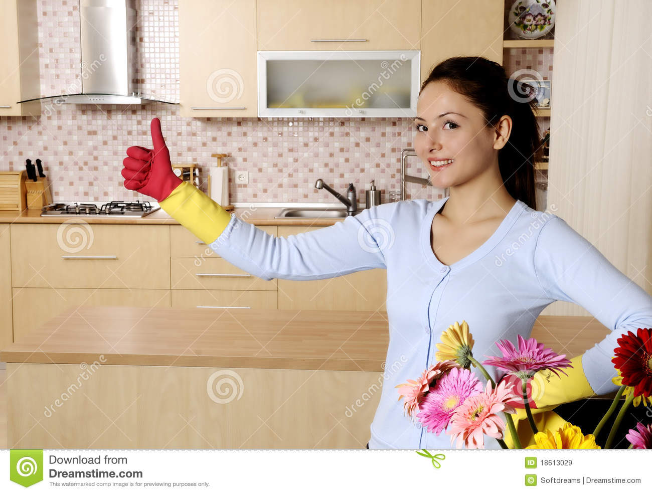 Beautiful Attractive Women Cleaning The House Stock Image Flower