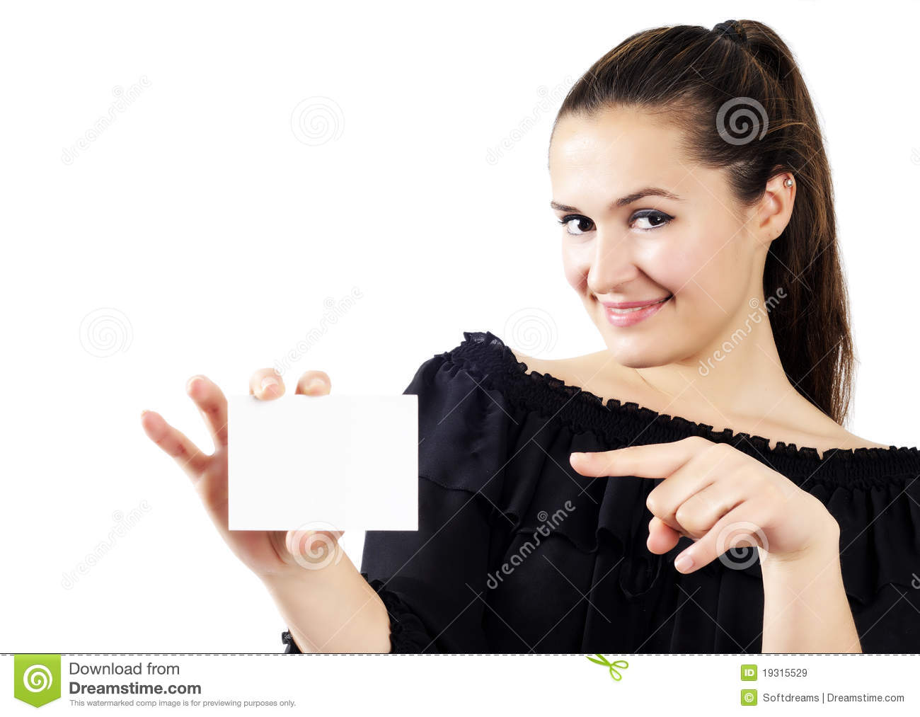 Beautiful attractive women holding a business card stock image royalty free stock photo reheart Choice Image